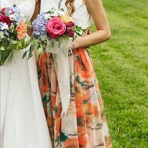 Chicwish Orange Blossom Watercolor Maxi Skirt